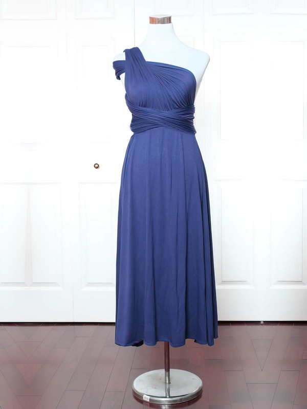 A-line One Shoulder Ankle-length Jersey with Ruffles Bridesmaid Dresses #PDS01013159