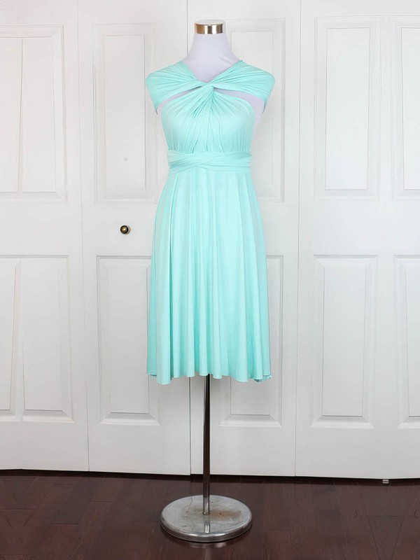 A-line V-neck Short/Mini Jersey with Ruffles Bridesmaid Dresses #PDS01013160