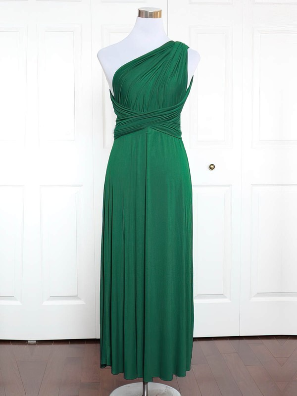 A-line One Shoulder Ankle-length Jersey with Ruffles Bridesmaid Dresses #PDS01013162