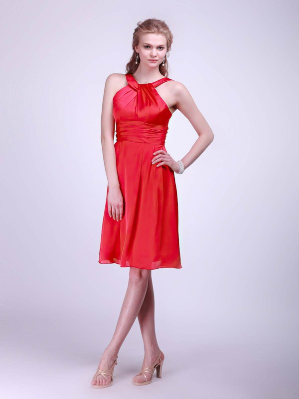 Satin Empire Halter Knee-length Sashes/Ribbons Bridesmaid Dresses #PDS02013610