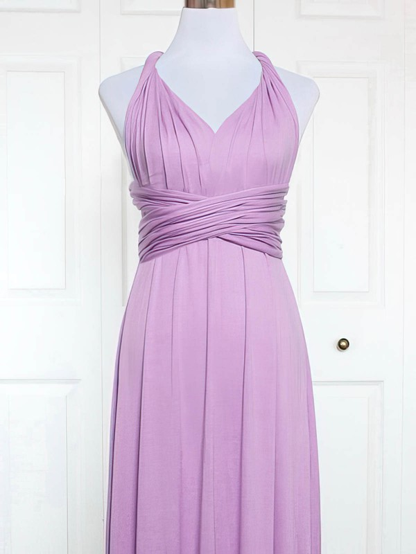 A-line V-neck Knee-length Jersey with Ruffles Bridesmaid Dresses #PDS01013164