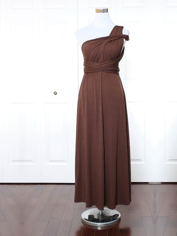 A-line One Shoulder Ankle-length Jersey with Ruffles Bridesmaid Dresses #PDS01013165