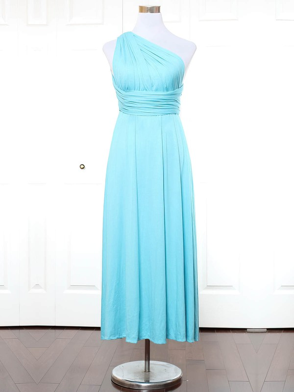 A-line One Shoulder Ankle-length Jersey with Ruffles Bridesmaid Dresses #PDS01013166