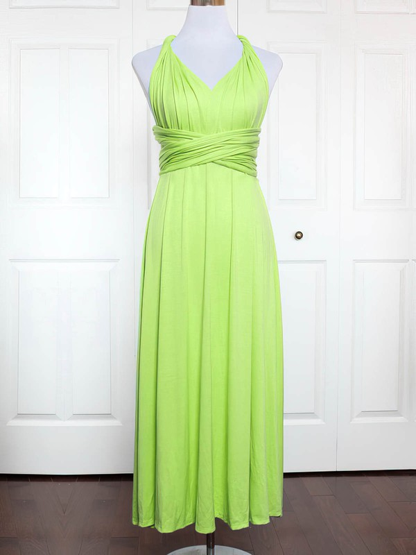 A-line V-neck Ankle-length Jersey with Ruffles Bridesmaid Dresses #PDS01013167