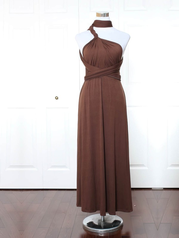 A-line High Neck Ankle-length Jersey with Ruffles Bridesmaid Dresses #PDS01013169