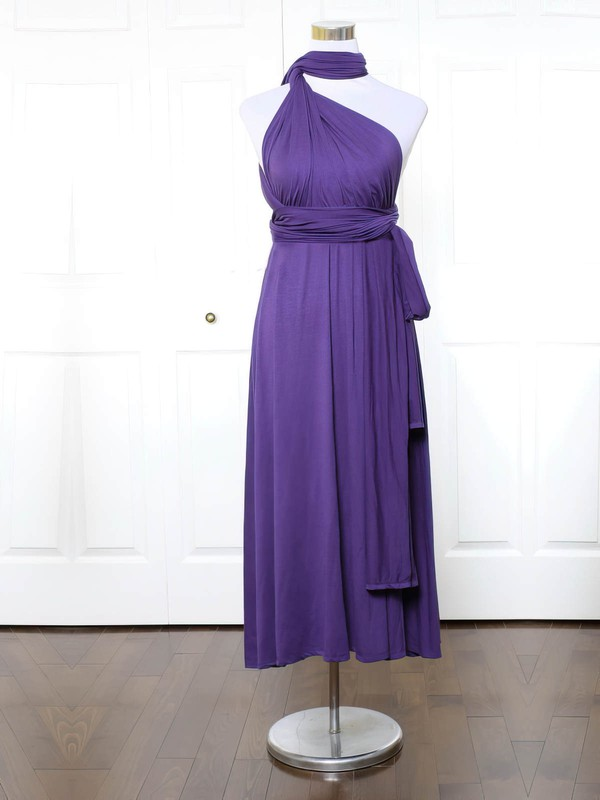 A-line High Neck Ankle-length Jersey with Ruffles Bridesmaid Dresses #PDS01013170