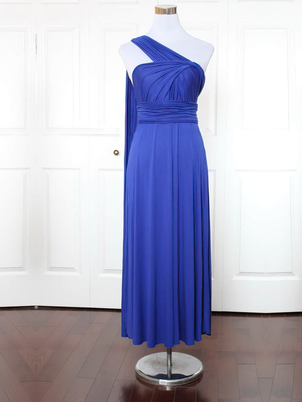 A-line One Shoulder Ankle-length Jersey with Ruffles Bridesmaid Dresses #PDS01013171
