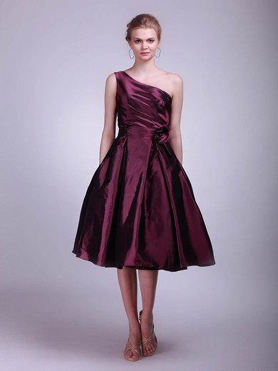 Taffeta A-line One Shoulder Tea-length Flower(s) Bridesmaid Dresses #PDS02013611