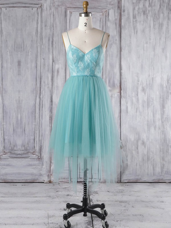 A-line V-neck Asymmetrical Tulle with Lace Bridesmaid Dresses #PDS01013348