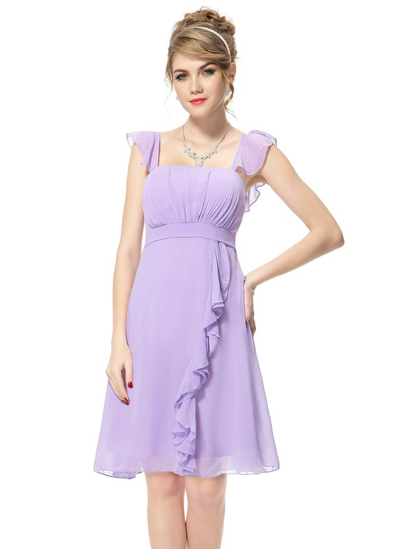 Empire Square Neckline Short/Mini Chiffon with Ruffles Bridesmaid Dresses #PDS01013392