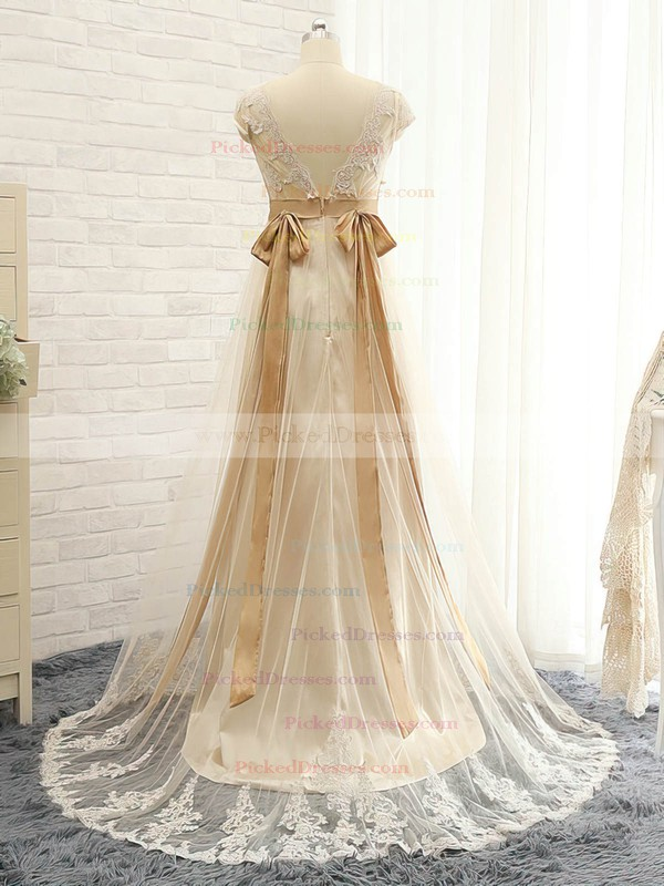 Empire V-neck Sweep Train Tulle with Appliques Lace Bridesmaid Dresses #PDS01013397