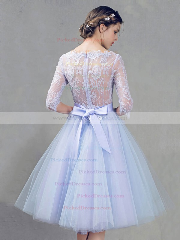 Princess Scoop Neck Knee-length Lace Tulle with Sashes / Ribbons Bridesmaid Dresses #PDS01013409