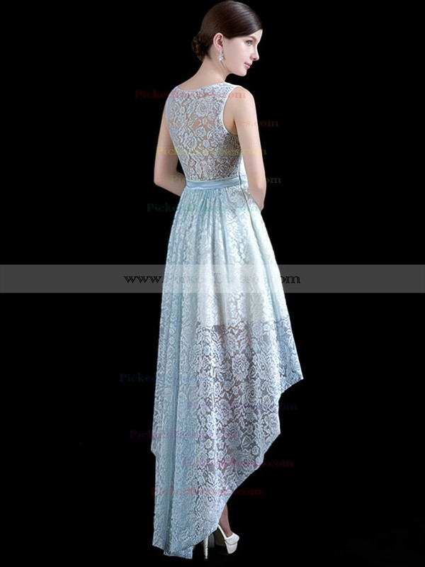 A-line Scoop Neck Asymmetrical Lace with Sashes / Ribbons Bridesmaid Dresses #PDS01013411