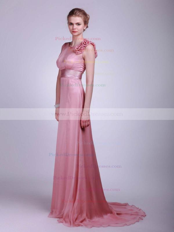 Chiffon A-line High Neck Floor-length Flower(s) Bridesmaid Dresses #PDS02013612
