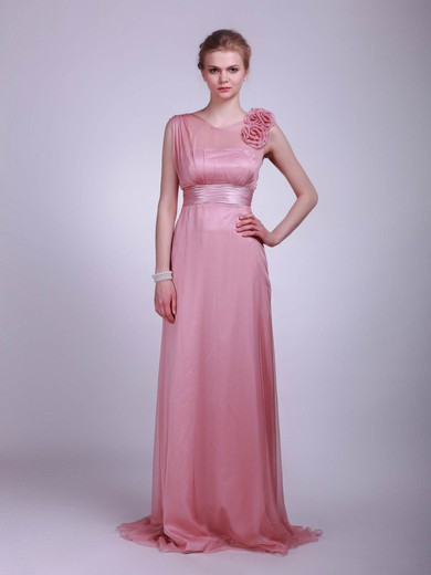 Chiffon A-line High Neck Floor-length Flower(s) Bridesmaid Dresses #PDS02013612