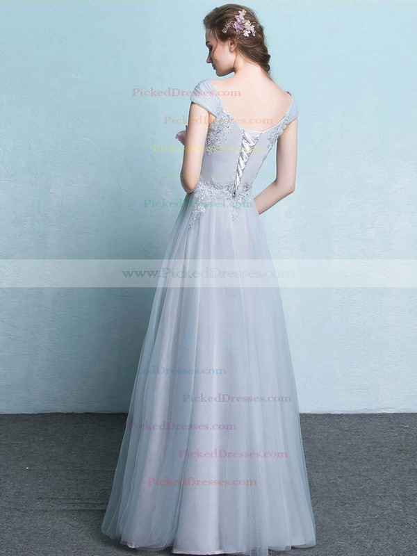 A-line V-neck Floor-length Tulle with Appliques Lace Bridesmaid Dresses #PDS01013425