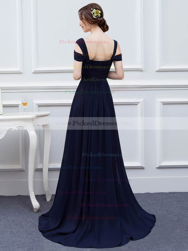 A-line V-neck Sweep Train Chiffon with Split Front Bridesmaid Dresses #PDS01013426