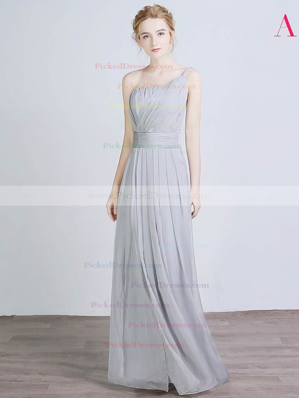 A-line One Shoulder Floor-length Chiffon Silk-like Satin with Split Front Bridesmaid Dresses #PDS01013429