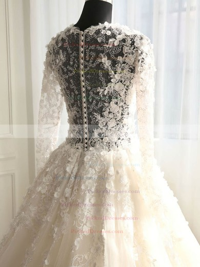 Ball Gown Scoop Neck Court Train Tulle with Appliques Lace Wedding Dresses #PDS00023008