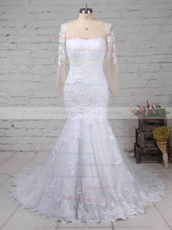 Trumpet/Mermaid Sweetheart Sweep Train Tulle with Appliques Lace Wedding Dresses #PDS00023009