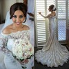 Trumpet/Mermaid Off-the-shoulder Sweep Train Tulle Silk-like Satin with Beading Wedding Dresses #PDS00023010