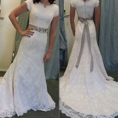 A-line V-neck Sweep Train Lace with Sashes / Ribbons Wedding Dresses #PDS00023011