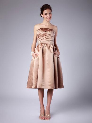 Satin A-line Strapless Tea-length Pleats Bridesmaid Dresses #PDS02013614