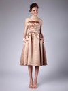 Satin A-line Strapless Tea-length Pleats Bridesmaid Dresses #PDS02013614