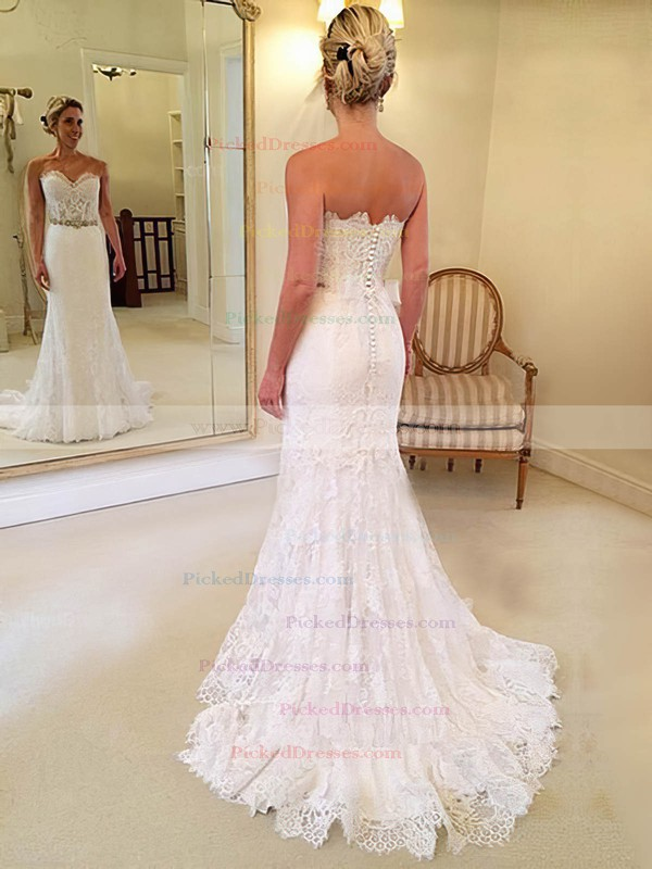 Trumpet/Mermaid Sweetheart Sweep Train Lace with Sashes / Ribbons Wedding Dresses #PDS00023014