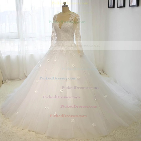Ball Gown Scoop Neck Court Train Tulle with Sequins Wedding Dresses #PDS00023015