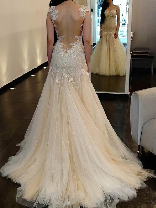 Trumpet/Mermaid Scoop Neck Sweep Train Tulle with Sequins Wedding Dresses #PDS00023018