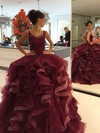 Ball Gown Scoop Neck Floor-length Tulle with Appliques Lace Wedding Dresses #PDS00023019