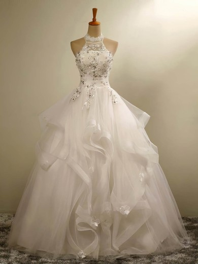 Ball Gown Halter Floor-length Tulle with Beading Wedding Dresses #PDS00023020