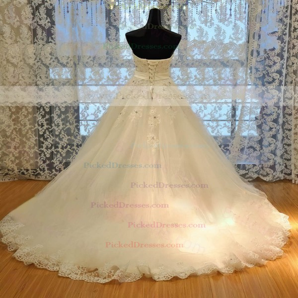 Ball Gown Sweetheart Court Train Tulle with Beading Wedding Dresses #PDS00023022