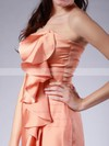 Satin Sheath/Column Strapless Knee-length Ruffles Bridesmaid Dresses #PDS02013616