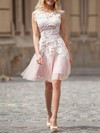 A-line Scoop Neck Short/Mini Tulle with Appliques Lace Wedding Dresses #PDS00023025