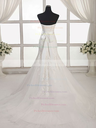 Trumpet/Mermaid Sweetheart Sweep Train Tulle with Appliques Lace Wedding Dresses #PDS00023027