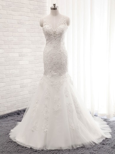 Trumpet/Mermaid V-neck Sweep Train Tulle with Sequins Wedding Dresses #PDS00023028