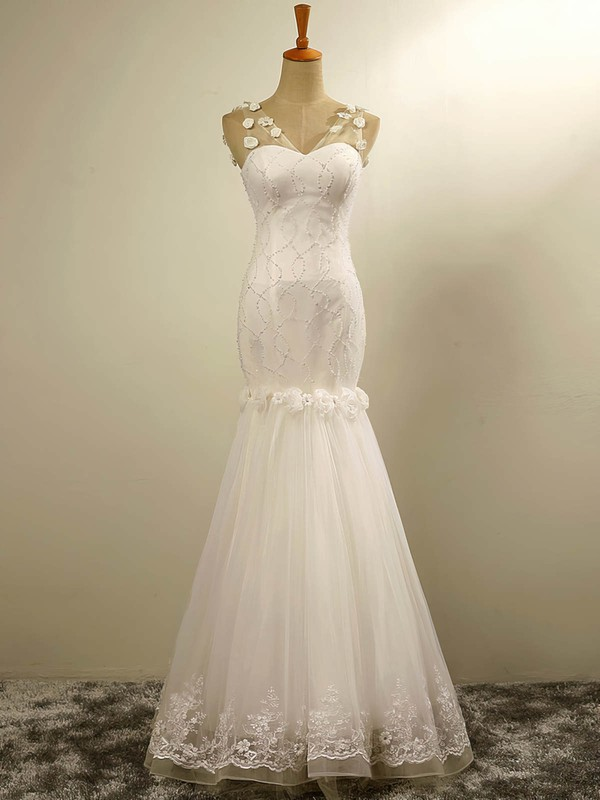 Trumpet/Mermaid V-neck Floor-length Tulle with Flower(s) Wedding Dresses #PDS00023029