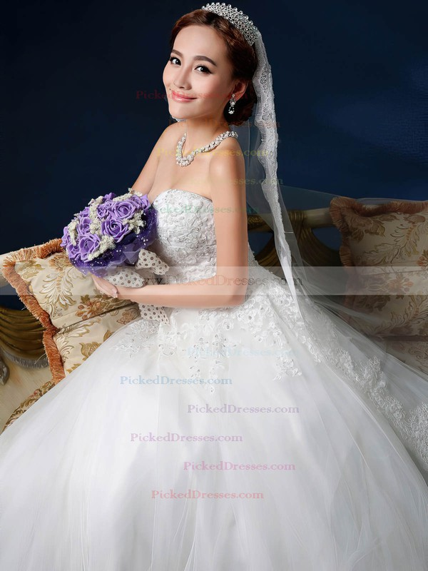 Ball Gown Sweetheart Chapel Train Tulle with Sashes / Ribbons Wedding Dresses #PDS00023030