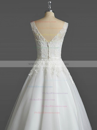 Ball Gown V-neck Tea-length Tulle with Sashes / Ribbons Wedding Dresses #PDS00023031