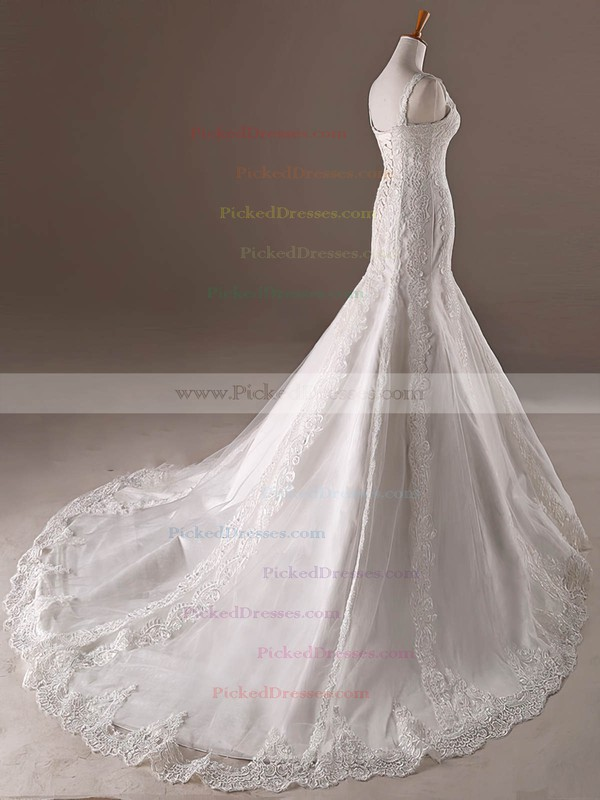 Trumpet/Mermaid V-neck Sweep Train Tulle with Appliques Lace Wedding Dresses #PDS00023032
