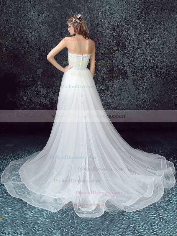 A-line Strapless Sweep Train Tulle Lace with Sashes / Ribbons Wedding Dresses #PDS00023033