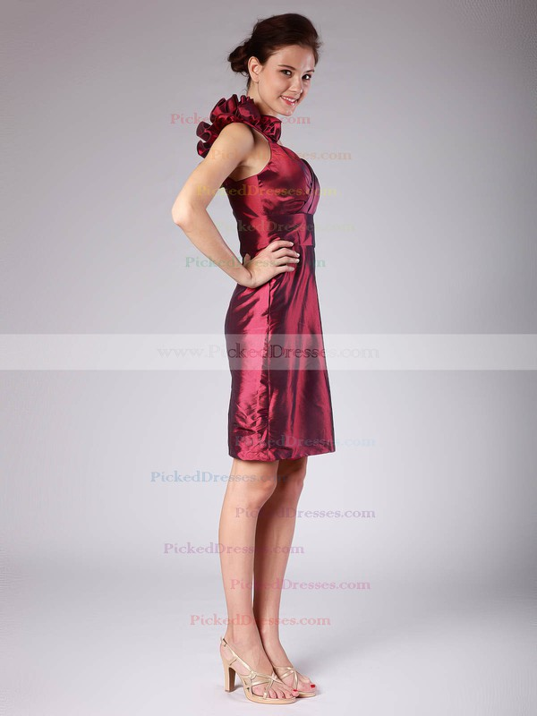 Taffeta Sheath/Column Strapless Short/Mini Pleats Bridesmaid Dresses #PDS02013620