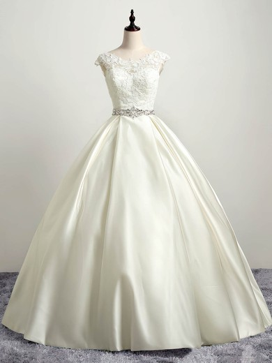 Ball Gown Scoop Neck Floor-length Satin Tulle with Appliques Lace Wedding Dresses #PDS00023035