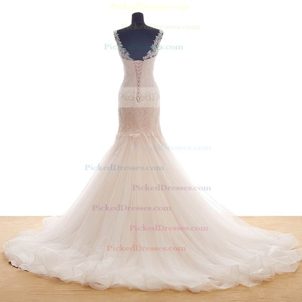 Trumpet/Mermaid Scoop Neck Sweep Train Tulle with Appliques Lace Wedding Dresses #PDS00023036