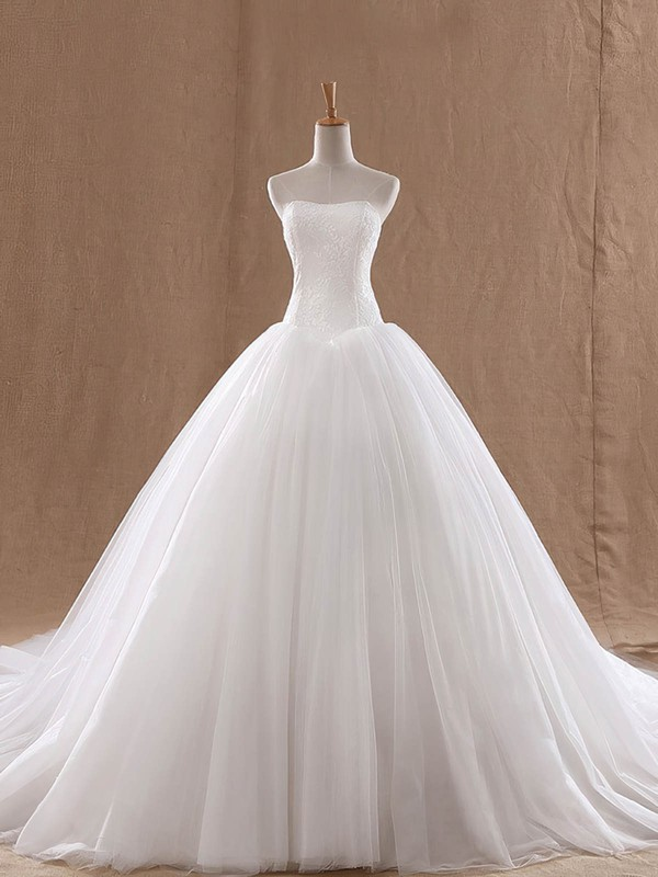 Ball Gown Strapless Court Train Lace Tulle with Ruffles Wedding Dresses #PDS00023037