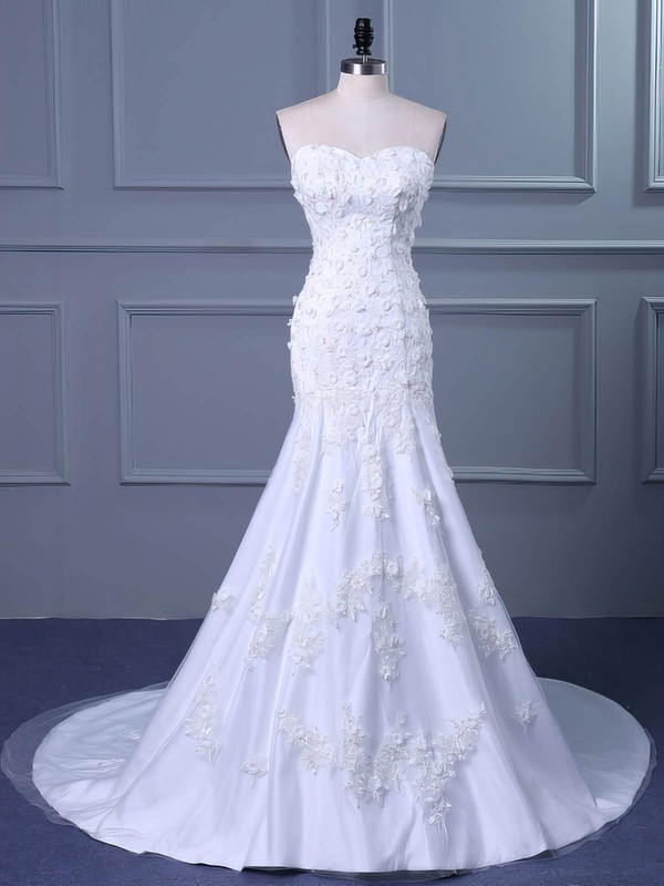 Trumpet/Mermaid Sweetheart Sweep Train Tulle with Flower(s) Wedding Dresses #PDS00023038