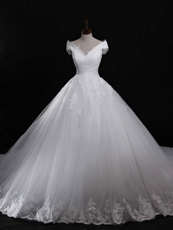 Ball Gown V-neck Cathedral Train Tulle with Appliques Lace Wedding Dresses #PDS00023040