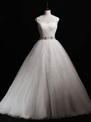 Ball Gown Sweetheart Floor-length Tulle with Beading Wedding Dresses #PDS00023041